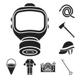 Fire Department black icons in set collection for design. Firefighters and equipment vector symbol stock web. Fire Department black icons in set collection for Royalty Free Stock Photos