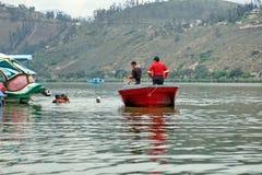 Fire department boat. In Lago Yahuarcocha in Ibarra, Ecuador stock image