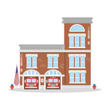 Fire department building. Isolated fire department building. Fire station with fire trucks Stock Image