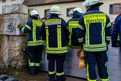 The fire department builts flood barriers along the Rhine. In Nierstein Stock Photography
