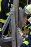 The fire department builts flood barriers along the Rhine in Nierstein.  stock photo