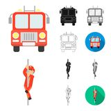 Fire Department cartoon,black,flat,monochrome,outline icons in set collection for design. Firefighters and equipment. Vector symbol stock  illustration Stock Image