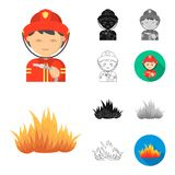 Fire Department cartoon,black,flat,monochrome,outline icons in set collection for design. Firefighters and equipment. Vector symbol stock  illustration Royalty Free Stock Image