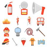 Fire Department cartoon icons in set collection for design. Firefighters and equipment vector symbol stock web. Fire Department cartoon icons in set collection Royalty Free Stock Photos