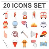 Fire Department cartoon icons in set collection for design. Firefighters and equipment vector symbol stock web Stock Photos