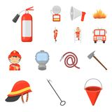 Fire Department cartoon icons in set collection for design. Firefighters and equipment vector symbol stock web. Fire Department cartoon icons in set collection Royalty Free Stock Photography