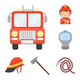 Fire Department cartoon icons in set collection for design. Firefighters and equipment vector symbol stock web. Fire Department cartoon icons in set collection Stock Photography