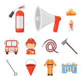 Fire Department cartoon icons in set collection for design. Firefighters and equipment vector symbol stock web. Fire Department cartoon icons in set collection Royalty Free Stock Image