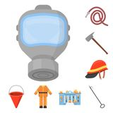 Fire Department cartoon icons in set collection for design. Firefighters and equipment vector symbol stock web. Fire Department cartoon icons in set collection Stock Images