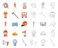 Fire Department cartoon,outline icons in set collection for design. Firefighters and equipment vector symbol stock web royalty free illustration