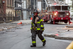 Fire Department of the City of New York FDNY. NEW YORK, USA - May 02, 2016: Fireman on the streets of Manhattan. Fire Department of New York City provides fire Stock Photo