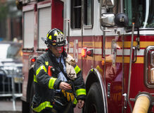 Fire Department of the City of New York FDNY. NEW YORK, USA - May 02, 2016: Fire Department of New York City provides fire protection, technical rescue, primary Royalty Free Stock Photo