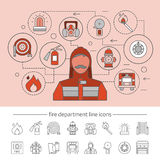 Fire Department Concept. With professional equipment infographics on pink background and linear icons set isolated vector illustration Stock Photos