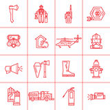 Fire Department contour icons. Set icons outline fire safety. Flame, truck, fire extinguisher, firefighter. Suitable for banners, business cards, web sites Royalty Free Stock Image