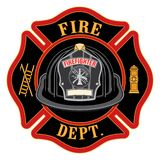 Fire Department Cross Black Helmet