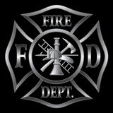 Fire Department Cross Silver. Fire Department or Firefighter's  Maltese Cross Symbol in silver on black background Stock Image