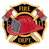 Fire Department Cross Symbol. Is an illustration of a fireman or firefighter Maltese cross emblem with a firefighter helmet and firefighter axes in the Royalty Free Stock Photos