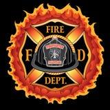 Fire Department Cross Vintage Black Helmet Volunteer with Flames