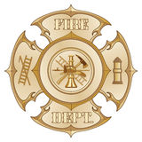 Fire Department Cross Vintage Gold. Illustration of a vintage fire department Maltese cross in a gold color with firefighter logo inside Royalty Free Stock Image