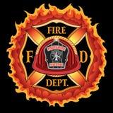 Fire Department Cross Vintage Red Helmet Volunteer with Flames