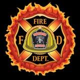 Fire Department Cross Vintage Yellow Helmet Volunteer with Flames