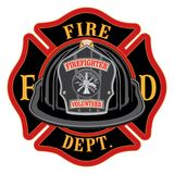 Fire Department Cross Volunteer Black Helmet. Is an illustration of a fireman or firefighter Maltese cross emblem with a black volunteer firefighter helmet and Stock Photos
