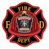 Fire Department Cross Volunteer Red Helmet Stock Photo