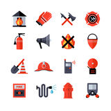 Fire Department Decorative Icons. Fire department decorative flat icons collection of fireman equipment and tools with hatchet bucketful spade helm extinguisher Royalty Free Stock Image