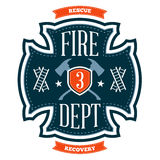 Fire department emblem. Crest with crossed axes Royalty Free Stock Images