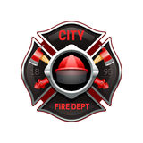 Fire Department Emblem Realistic Image Illustration. City fire department organization realistic logo emblem design with crossed axes and pumps red black vector Royalty Free Stock Photography