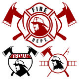 Fire department emblems and badges. Set of fire department emblems and badges Royalty Free Stock Image