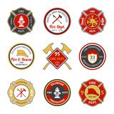 Fire department emblems. Fire department rescue and protection volunteers and professional firefighter emblems set isolated vector illustration Stock Photos