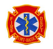 Fire Department EMT Patch. Fire Department Cross with EMT Symbol Patch Isolated on White stock images