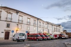 Fire department in Faro city. FARO, PORTUGAL: 16th of Ocotober, 2018 - View of the fire department vehicles parked in the docks in Faro city, Portugal stock photo