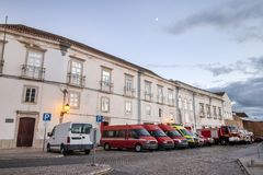 Fire department in Faro city. View of the fire department vehicles parked in the docks in Faro city, Portugal royalty free stock photos