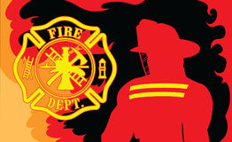 Fire Department With Fireman. Is an illustration of a silhouetted fireman or firefighter and a firefighter symbol surrounded by fire or flames Royalty Free Stock Image