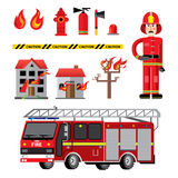 Fire department flat icons composition. Banner with facilities equipment and fireman holding safety tips abstract vector illustration Stock Images