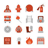 Fire Department Flat Icons Set. With building professional equipment and clothing burning match isolated vector illustration Stock Photography