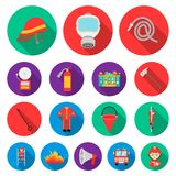 Fire Department flat icons in set collection for design.  Royalty Free Stock Images