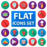 Fire Department flat icons in set collection for design. Firefighters and equipment vector symbol stock web illustration. Fire Department flat icons in set Stock Images