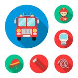 Fire Department flat icons in set collection for design. Firefighters and equipment vector symbol stock web illustration. Fire Department flat icons in set Stock Photo