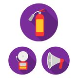 Fire Department flat icons in set collection for design. Firefighters and equipment vector symbol stock web illustration. Fire Department flat icons in set Royalty Free Stock Image