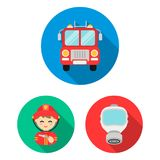 Fire Department flat icons in set collection for design. Firefighters and equipment vector symbol stock web illustration. Fire Department flat icons in set Royalty Free Stock Images