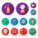 Fire Department flat icons in set collection for design. Firefighters and equipment vector symbol stock web illustration. Fire Department flat icons in set Stock Photos