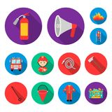 Fire Department flat icons in set collection for design. Firefighters and equipment vector symbol stock web illustration. Fire Department flat icons in set Stock Photography