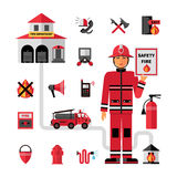 Fire Department Flat Icons Set. Fire department flat icons composition banner with facilities equipment and fireman holding safety tips abstract vector Stock Photo