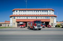 FIRE DEPARTMENT. A heavy rescue vehicle leaves the fire station for action royalty free stock photos