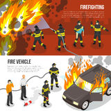 Fire Department Horizontal Banners. Horizontal banners with fire department fighting with flame in city and near burning car isolated vector illustration Stock Image