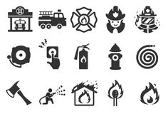 Fire Department icons. Flat Design Vector Illustration: Fire Department icons Royalty Free Stock Photography