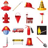 Fire Department icons set, cartoon style. Fire Department icons set in cartoon style isolated on white background royalty free illustration